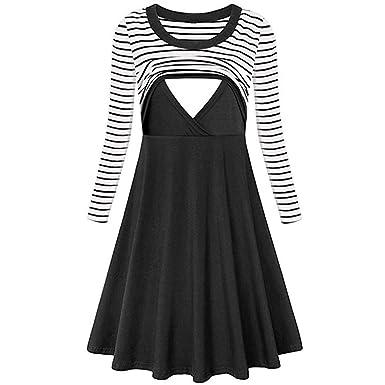3f6be5a95d0 general3 Women's Nursing Dress Stripe Long Sleeve Flare Maternity  Breastfeeding Baby Dress (S, Black