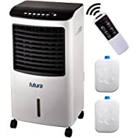 Large Portable Air Cooler for Home Remote Control & Timer, 4-in-1 System, Humidifier, Air Purifier & Ioniser, LED Display, Cooling Fan, 3 Speeds, 3 Wind Settings & Oscillation, Large 8 Litre Tank
