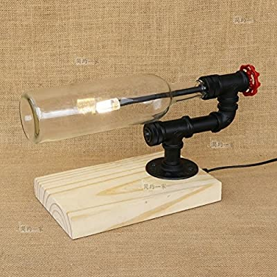 Baycher Vintage Industrial Water pipes Bottle Solid wood base table lamp American study bedroom bedside lamp bar cafe decoration table light