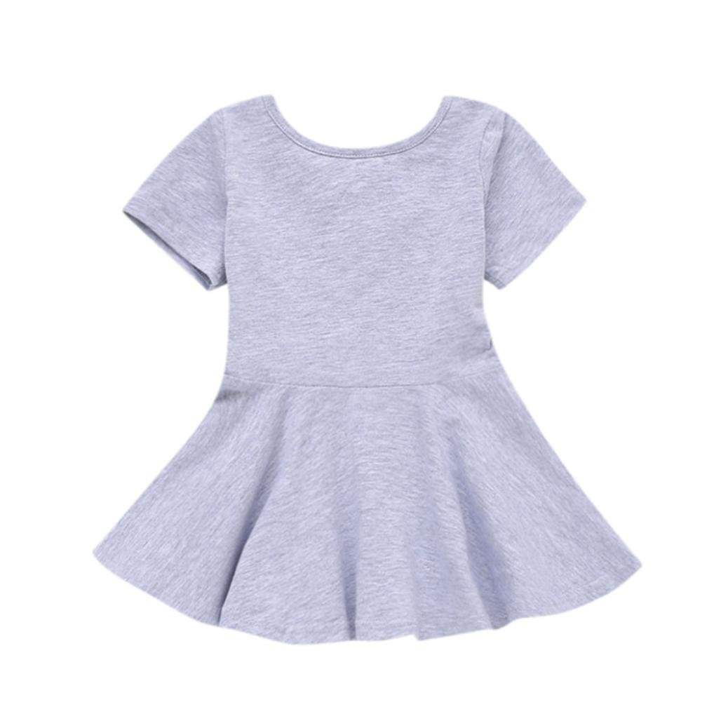 Corsion Baby Girls Candy Color Short Sleeve Solid Princess Casual Toddler Kids Dress