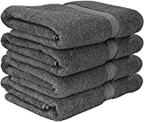600 GSM Premium Bath Towels Set - Cotton Towels for Hotel and Spa, Maximum Softness and Absorbency by Utopia Towels (4 Pack) (Grey)
