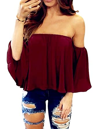 76c2e625208 Image Unavailable. Image not available for. Color: SHFZ Women's Off  Shoulder Tops Summer Short Sleeve Chiffon Blouse Shirt Crop ...