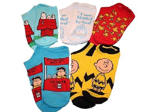 5pk No Show Socks Peanuts Charlie Brown Snoopy 9-11 - Amazon.com: 5pk No Show Socks Peanuts Charlie Brown Snoopy 9-11
