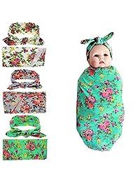 Czofnjesi Newborn Girls Swaddle Blanket Headband Set Baby Receiving Blankets Set