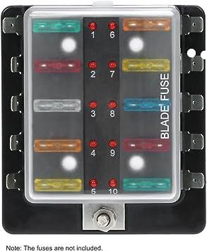 Amazon.com: KKmoon DC12V 10 Way Blade Fuse Box Holder with LED Warning  Light Kit for Car Boat Marine Trike: AutomotiveAmazon.com