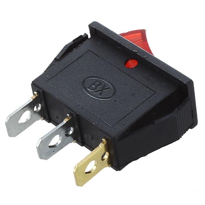 RETYLY Interruptor de palanca Encendido Apagado brillante bipolar 28x10mm 250V 15A RED 3 Terminales