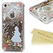 Iphone 5S, Iphone 5 Case - Mavis's Diary 3D Bling Flowing Liquid Design Flowers Girl Pattern Clear Case Hard PC Cover for Iphone 5S & Iphone 5 - Rose Girl with Golden Liquid and Golden Stars