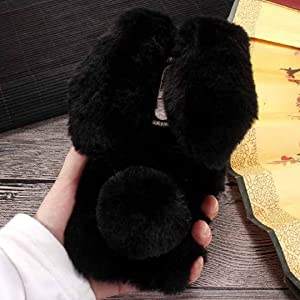 Lenovo Vibe K4Note/X3 Lite/A7010 Art Case, Handmade Fluffy Villi Rabbit Baby Wool Cute Ball Tail Winter Warm Soft Cover, TAITOU Beautiful Big Ear Light Slim Phone Case For Lenovo Vibe K4 Note Black