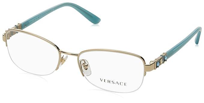 6bb73d7faeb Amazon.com  Versace Women s VE1230B Eyeglasses Pale Gold 52mm  Clothing