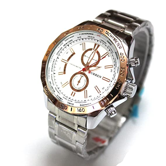 HWCOO 8186 Reloj para Hombre de Negocios Fake Tri-Eye Quartz Reloj Large Dial Reloj