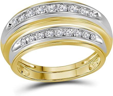 juego de alianzas con diamantes en dos colores de oro