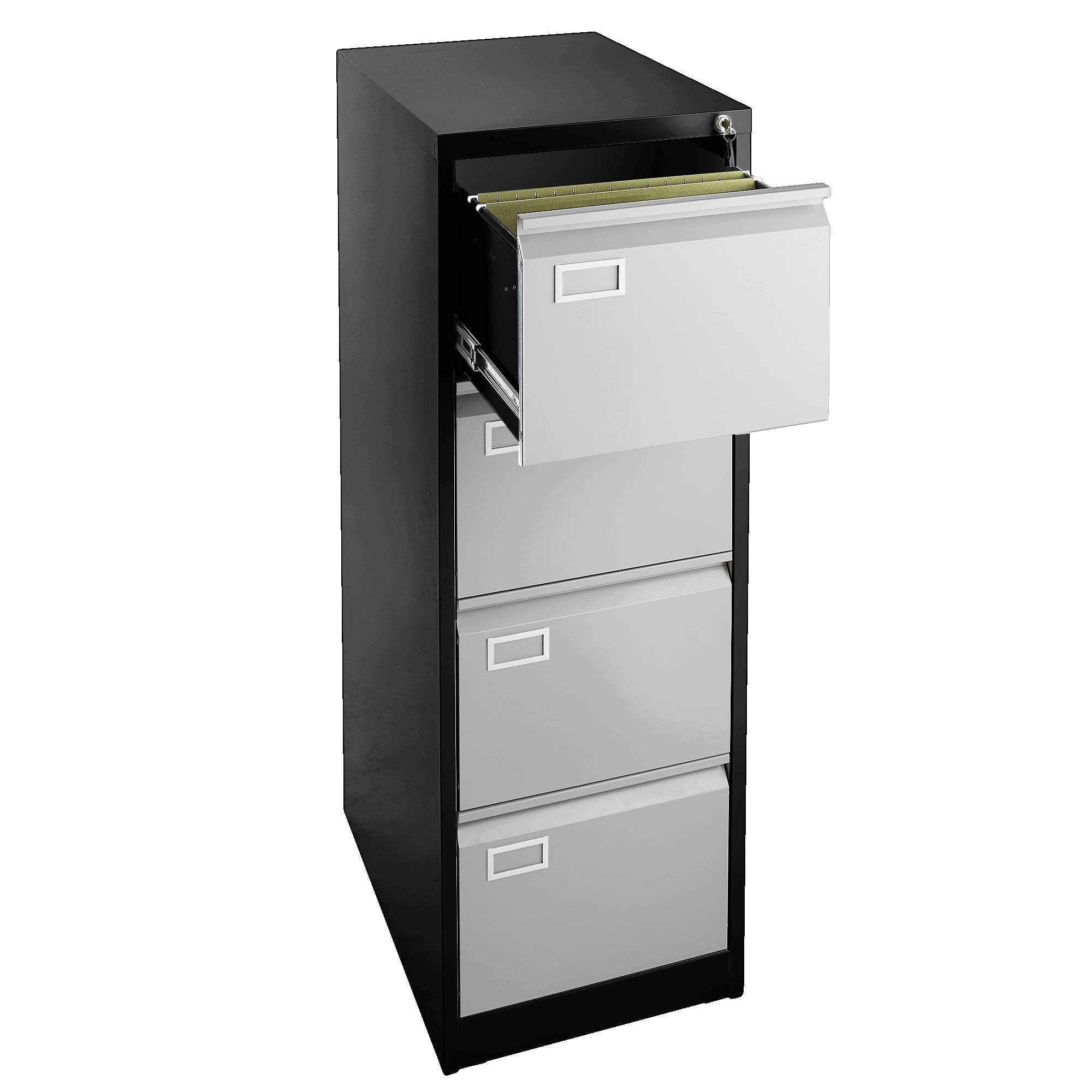 4 Drawer Locking Metal Filing Cabinet, Fits Letter & Legal Files, Great for Office (Black/Grey) - UNASSEMBLED