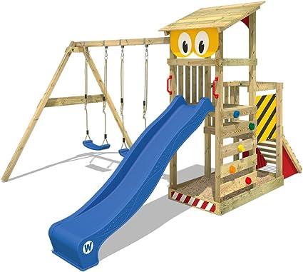 WICKEY Parque infantil de madera Smart Scoop con columpio y tobogán, Torre de escalada de exterior con arenero y escalera para niños