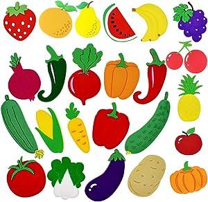 10PCS Fruit Fridge Magnets 14PCS Vegetable Refrigerator Magnets,Rubber Magnetic Whiteboard Stickers,Interesting Learning Fridge Stickers for Kids Educational Home Decoration(24PCS)