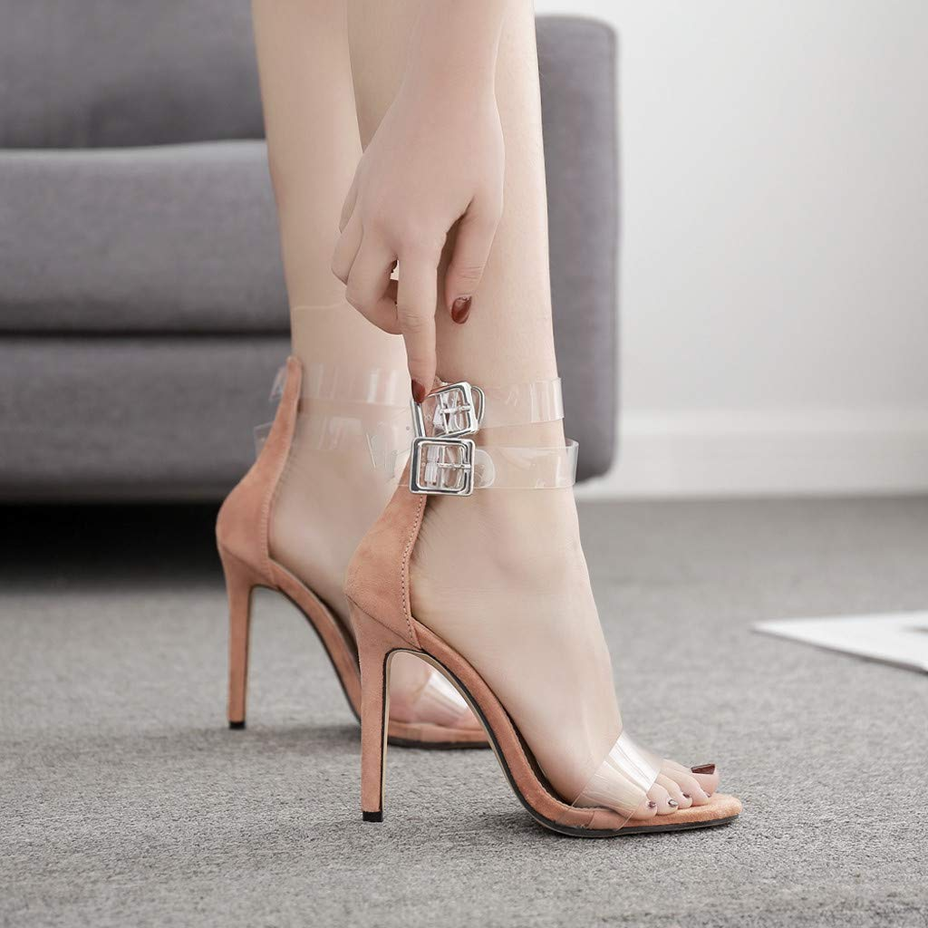 b50c628cfe18c Amazon.com: Claystyle Women's High Heels Sandals Ankle Strappy Clear ...