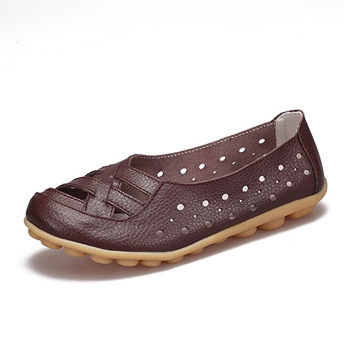 Zapatos de mujer Zapatos de mujer Mocasines Zapatos de mujer Zapatos de ballet antideslizantes Zapatos de cuero de vaca genuinos Calzado Coffee 4: ...