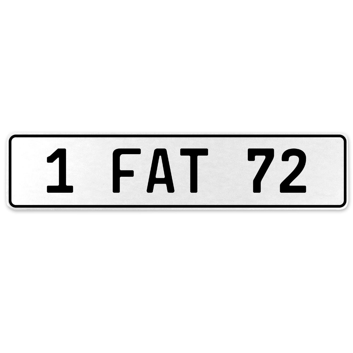 Vintage Parts 554669 1 Fat 72 White Stamped Aluminum European License Plate