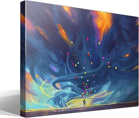 cuadrosfamosos.es Canvas Lienzo Bastidor Globos - 95 cm x 70 cm - Fabricado en España: Amazon.es: Hogar
