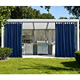 cololeaf Outdoor Curtains For Patio Extra Wide Waterpoof Solid Tab Top UV Ray Protected For Patio Porch Gazebo Pergola Cabana dock beach home - Navy 150W x 96L Inch (1 Panel)