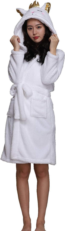 Landove Accappatoio Coppia Uomo Donna Coperta Morbida Flanella Caldo Pigiama con Cappuccio Animali Kimono Vestaglie da Notte Poncho con Orecchie Regalo di Hallloween Natale Compleanno