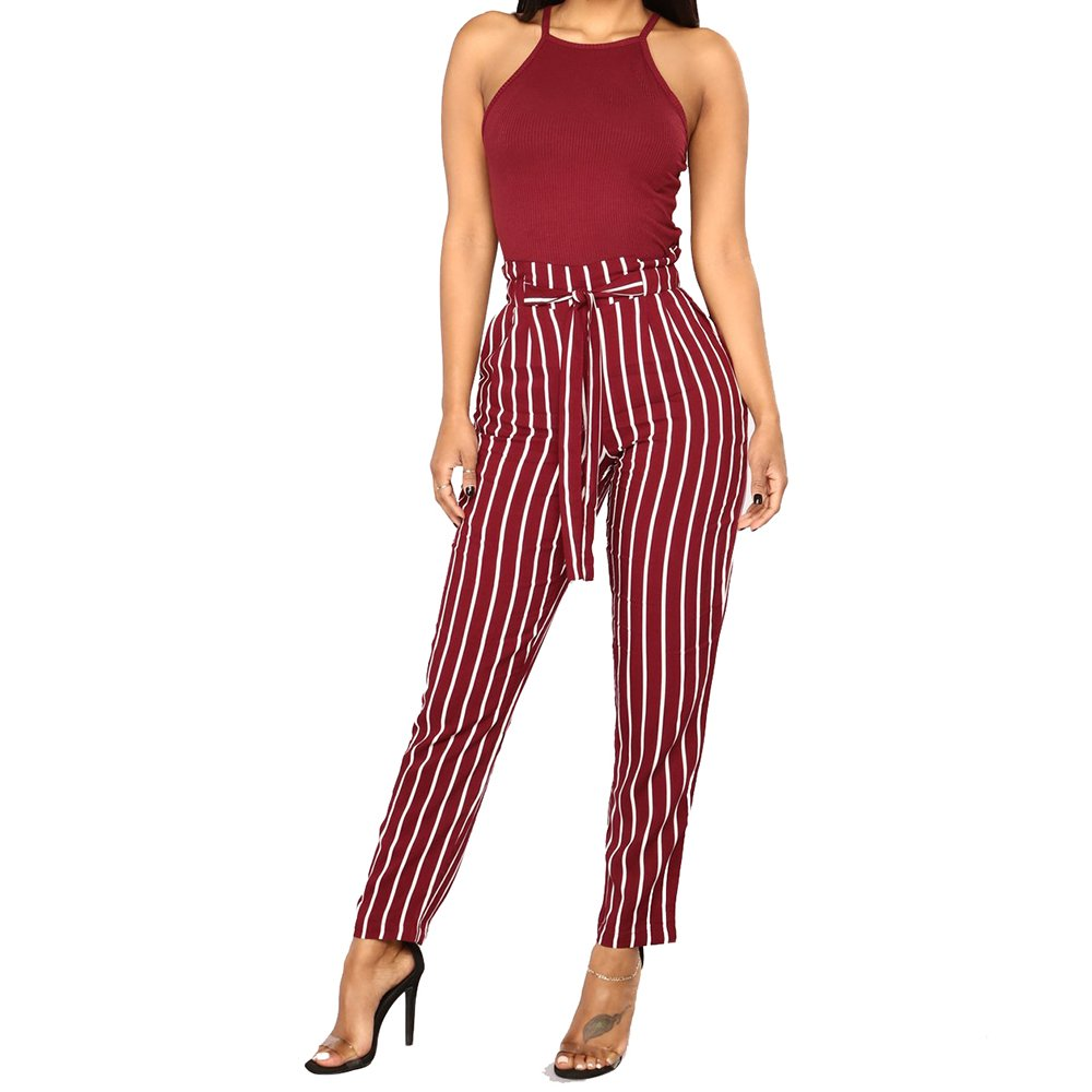 OMyAngel Women Casual High Waisted Striped Belted Lounge Ankle Pants with Pockets