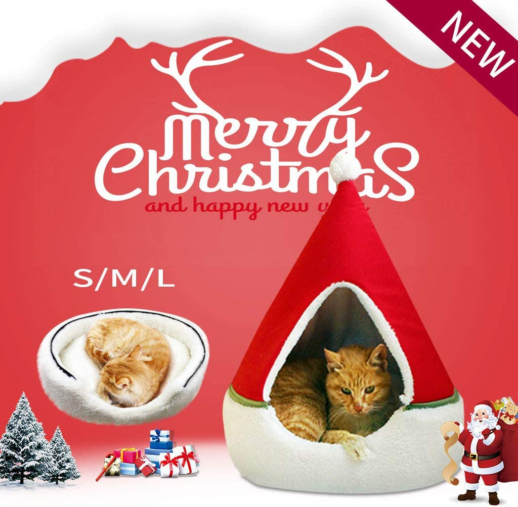 m·kvfa Christmas Tree Kennel Cat House Half Closed Semi-Closed Xmas Tree Shape Pet Nest Pet Bed Warm Soft Winter Pet Cat Tent Indoor Cats Cave for Cats and Small Dogs