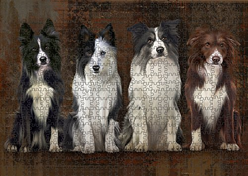 Rustic 4 Border Collies Dog Puzzle with Photo Tin PUZL55380 (1000 pc. 22
