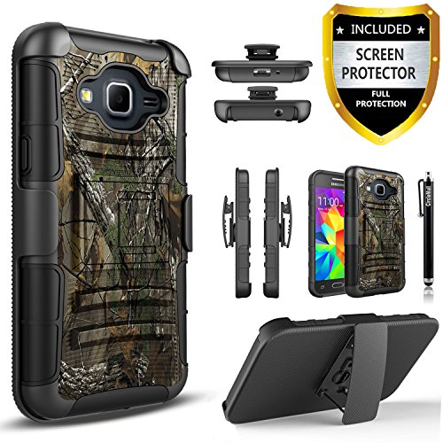 Galaxy Grand Prime Case, Dual Layers [Combo Holster] And Built-In Kickstand Bundled with [Premium HD Screen Protector] Hybird Shockproof And Circlemalls Stylus Pen (Camo)