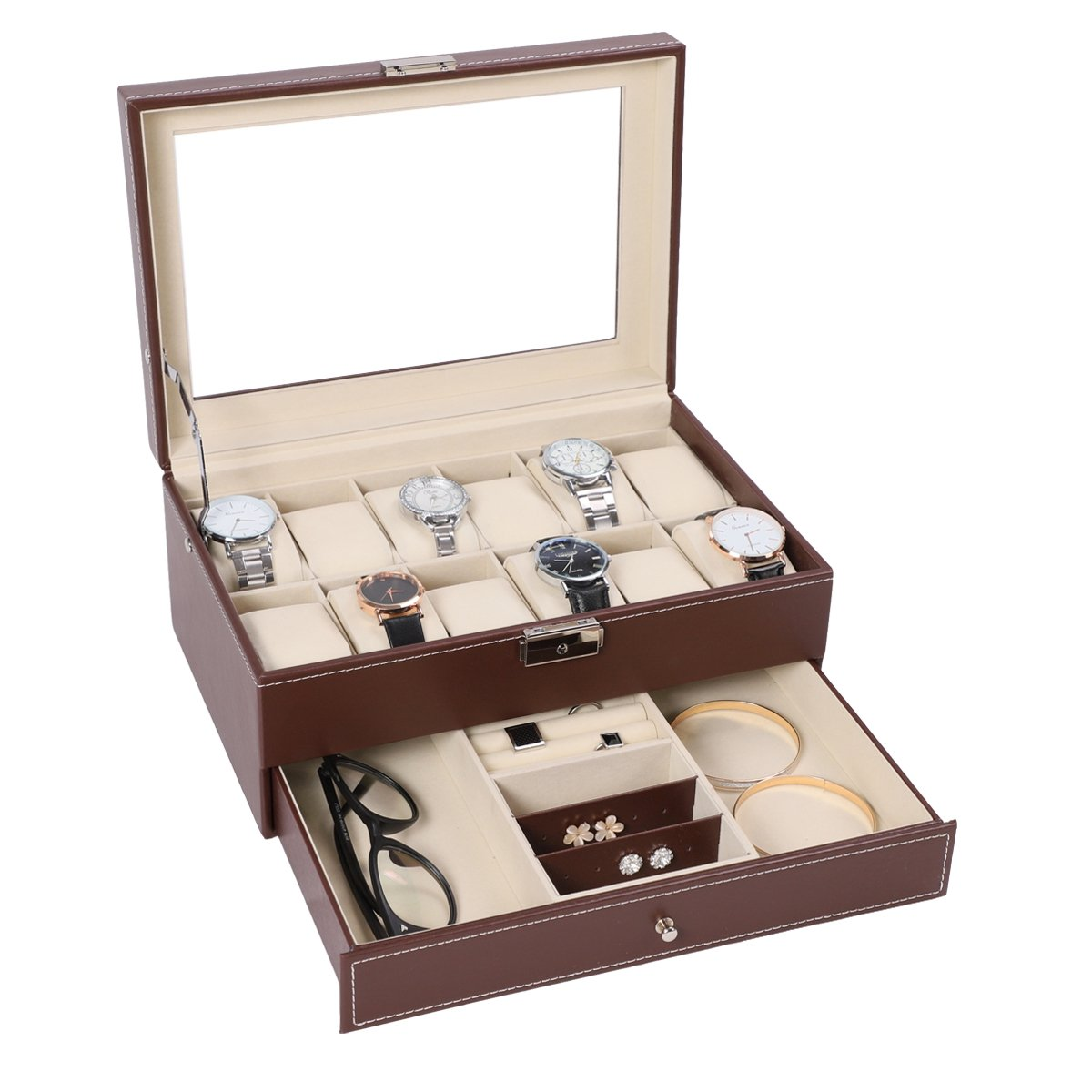 12 Watch Box Watch Display Organizer with PU Leather Jewelry Display Case with Key&Lock, Brown with Glass Top