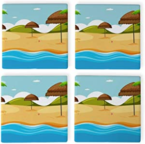 Beach scene with beach nature item Square Coaster for Drink,Decorative Kitchen Living romm And Coffee Table,set of 4