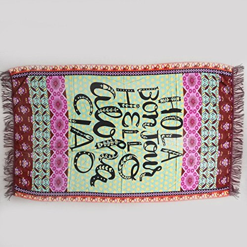 India Bohemian Tapestry Tassel Beach Throw Rectangle Mandala Towel Yoga Mat (HOLA(GREEN - Monica Center Santa Women's