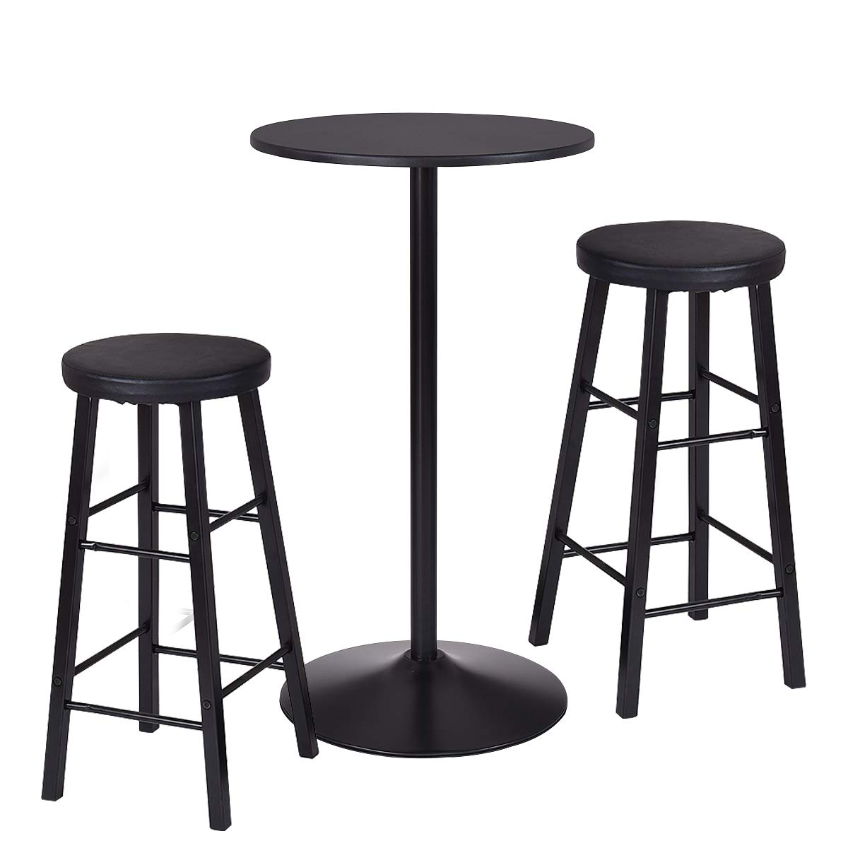 COSTWAY 3-Piece Bar Height Table Set with 2 Stools Pub Bistro Kitchen Dining Furniture Round Top Table with Stools