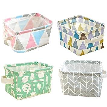 Foldable Small Canvas Storage Baskets Organizers Mini Cute Storage Bins