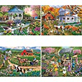 Bits and Pieces - Set of Four (4) 300 Piece Jigsaw Puzzles for Adults - Forest and Farm Animal Scenes - 300 pc Wildlife Jigsaws by Artist Mary Thompson