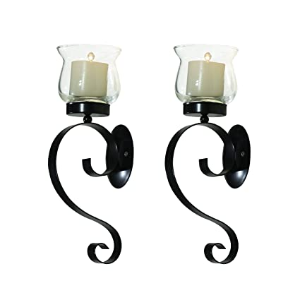 Elegan vintage metal stand with glass candle holder sconces sets wall sconce for home decoration decor