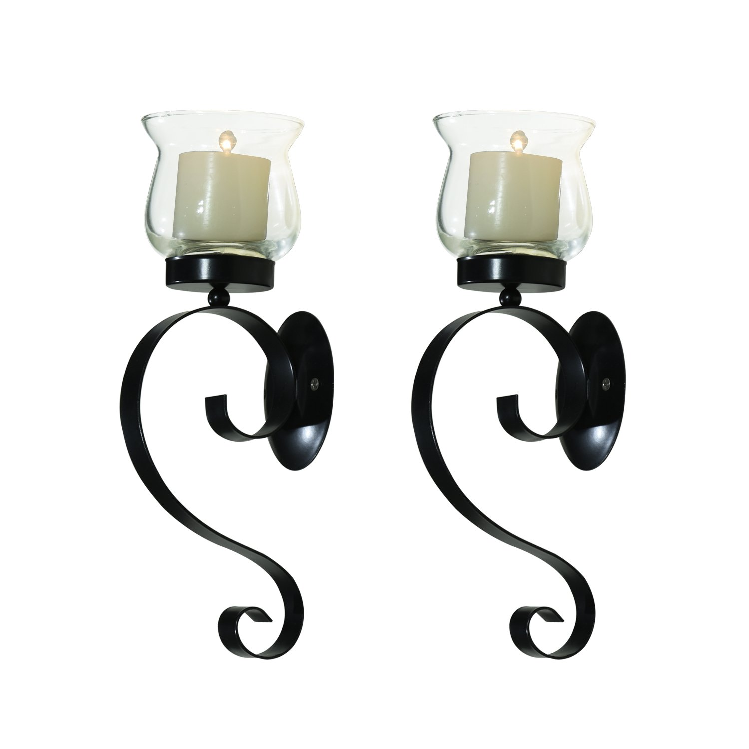 Homebeez Decorative Iron Vertical Candle Holder Sconce Wall Lighting, Black Color With Antique Finish (Set of Two)