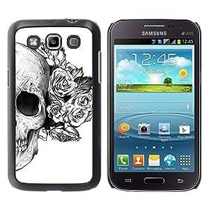 PC/Aluminum Funda Carcasa protectora para Samsung Galaxy Win I8550 I8552 Grand Quattro Rose White Black Skull Death Flower / JUSTGO PHONE PROTECTOR