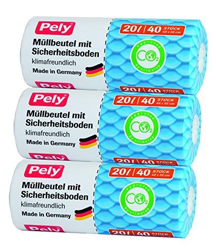 pely 5994 Müllbeutel mit Sicherheitsboden - klimafreundlich, 20 L, 40 Stück 3-er Pack