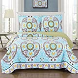 Nyah King / California-King Size, Over-Sized Coverlet 3pc set, Luxury Microfiber Printed Quilt by Royal Hotel