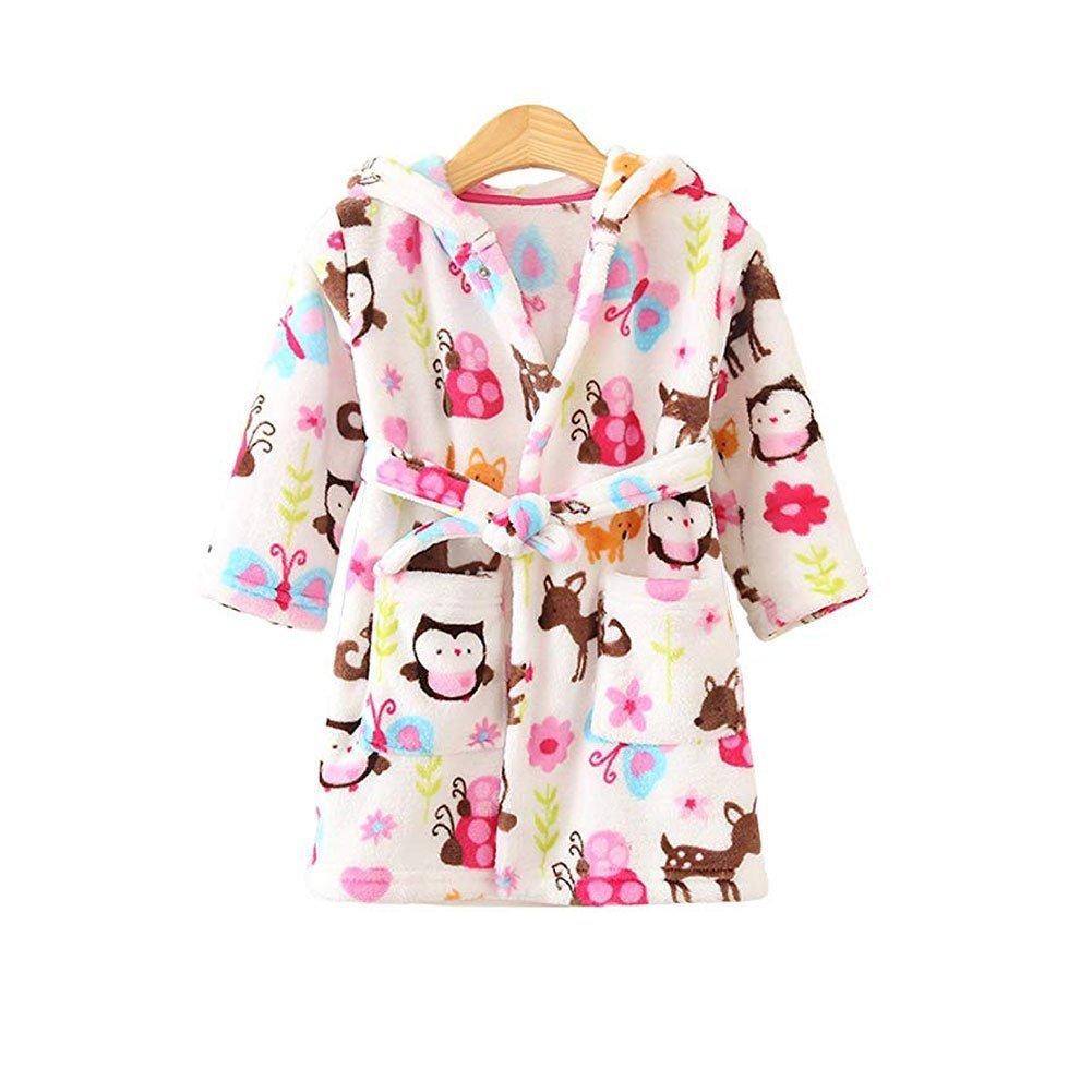 JZLPIN Unisex Baby mit Kapuze Bademantel Kinder Flanell Pyjama Morgenmantel Zum Jungen M/ädchen