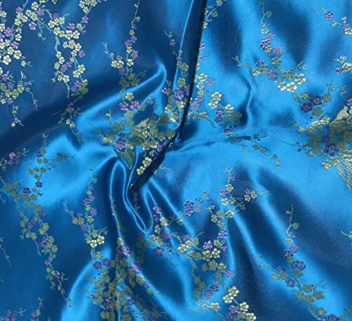 Turquoise Cherry Blossom Floral - Faux Silk Brocade Fabric