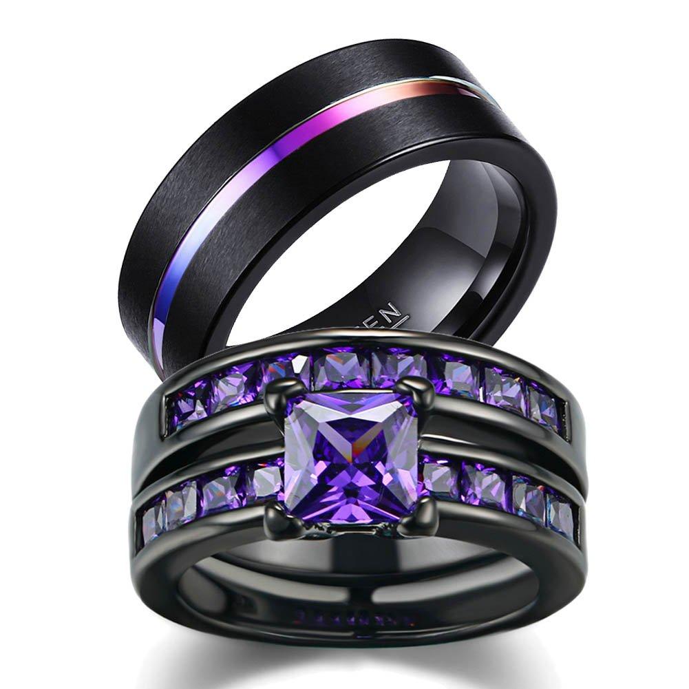 LOVERSRING Couple Ring Bridal Set His Hers Women Black Gold Plated CZ Men Tungsten Carbide Wedding Ring Band Set