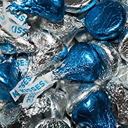 Dark Blue & Silver Hershey's Kisses Candy 1lb (Free Cold Pack)