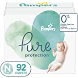 Diapers Newborn/Size 0, (< 10 lb), 92 Count - Pampers Pure Protection Disposable Baby Diapers, Hypoallergenic and Unscented Protection, Giant Pack