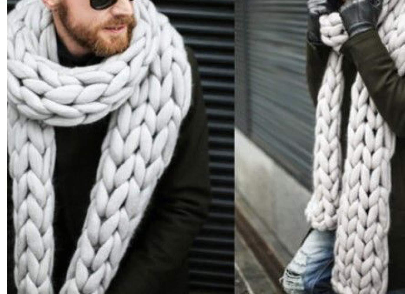 SLR Thick Wool Scarf, Men and Women Warm Scarf, bib, Braided Scarf, bib,Gray,One Size