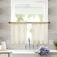 MIULEE 2 Panels Solid Color Sheer Window Curtains Elegant Window Voile Panels/Drapes/Treatment for Bedroom Living Room…