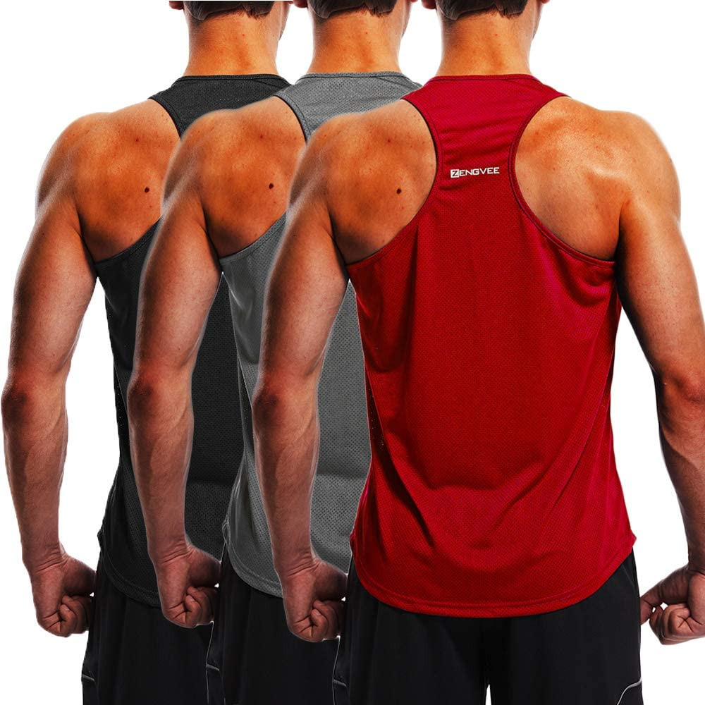 ZENGVEE Men's 3 Pack Gym Tank Tops Y-Back Muscle Tank Fitness Training Sleeveless T-Shirts for Running,Workout