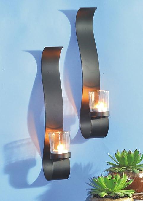 Dekoratives 2er Set Kerzenhalter Wandkerzenhalter f/ür Teelichter aus Metall