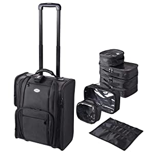 AW Makeup Case with Independent Travel Toiletry Bags Portable Rolling Nylon Makeup Artist Organizer with Straps