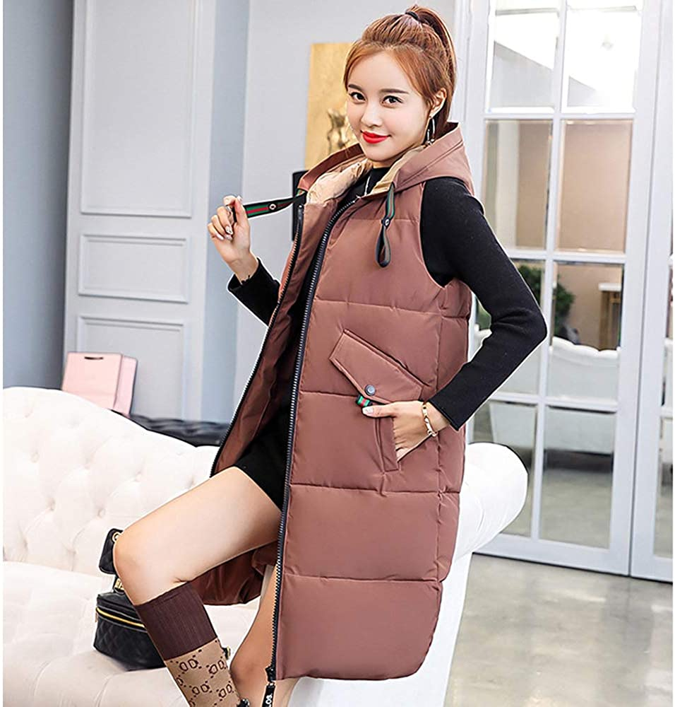 Windproof Hooded Down Cotton Sleeveless Gilet with Pocket KINDOYO Vest Women
